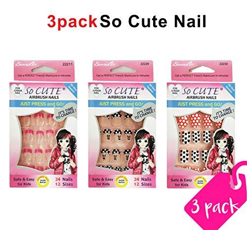 Beautia 3pack So Cute Artificial Pre-Glued Junior Nail (Sticker Nails)