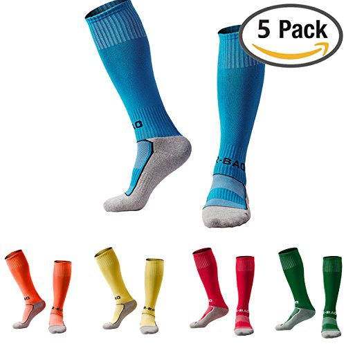 Soccer Socks for Boys Girls 5 Pack ( Blue / Orange / Yellow / Rose Red / Dark Green )