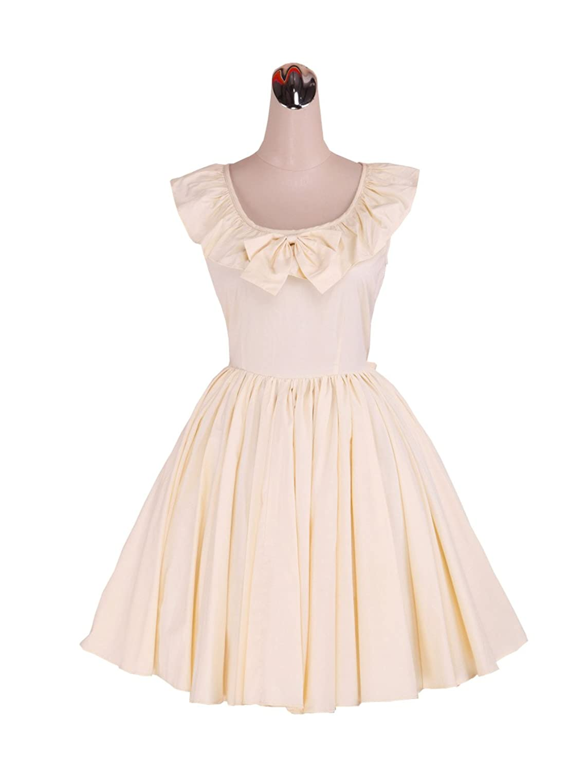 Vintage Style Children's Clothing: Girls, Boys, Baby, Toddler antaina Light Yellow Cotton Bow Ruffle Sweet Victorian Lolita Cosplay Dress $58.99 AT vintagedancer.com
