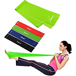 Yoassi Exercise Resistance Bands - 4 Resistance Loop bands & Long Fitness Stretch Band Yoga Straps Home Gym Workout For Legs Arms Pull Up Strength Training, Physical Therapy Theraband, Pilates w bag