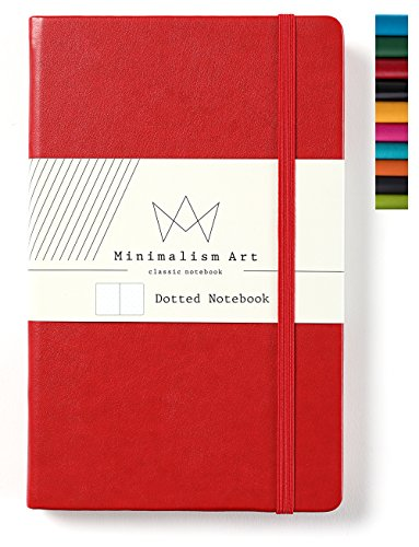 Minimalism Art, Classic Notebook Journal, A5 Size 5 X 8.3 inches, Red, Dotted Grid Page, 192 Pages, Hard Cover, Fine PU Leather, Inner Pocket, Quality Paper-100gsm, Designed in San Francisco