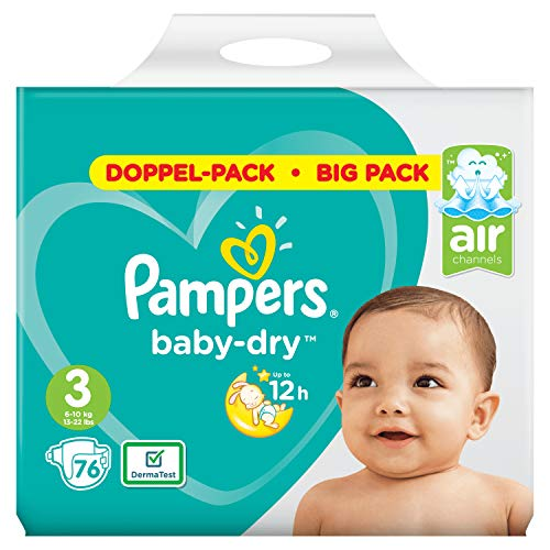 Pampers Baby-Dry Size 3, 76 Nappies for Breathable Dryness (Pack of 76)