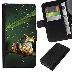 All Phone Most Case / Oferta Especial Cáscara Funda de cuero Monedero Cubierta de proteccion Caso / Wallet Case for LG OPTIMUS L90 // Cool Jungle Frog & Rain