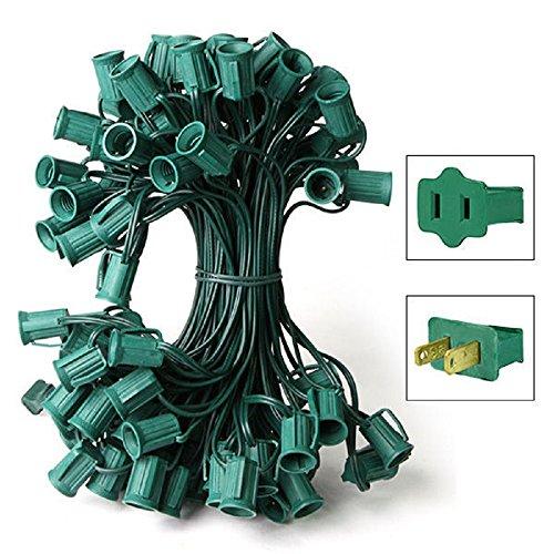 25 ft. Stringer 25 C7 Candelabra Sockets Green Wire Commercial Duty HLS C7-0025-12-1-G by HLS