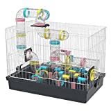 Super Large Hamster DIY 20''x12''x15'' Cage Habitat With Complete Tunnel Module (Black)