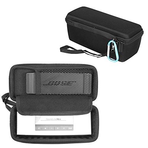 iProtect Tragetasche Schutzhülle für Bose SoundLink Mini 1+2 Bluetooth Lautsprecher Wireless Speaker mit gepolstertem Innenfach und doppeltem Reißverschluss in Schwarz