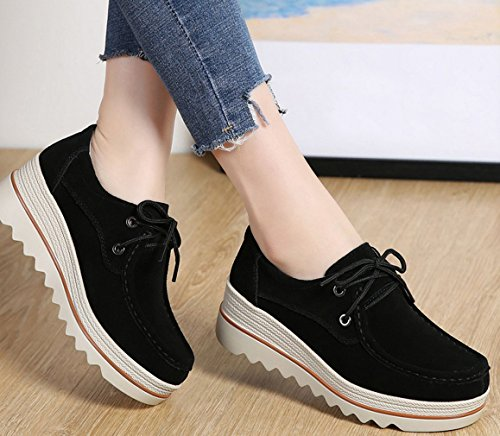 Platform Walking Up Leather Black1 Lace Lightweight Suede Women's Loafers Casual Orlancy xw6I8PY
