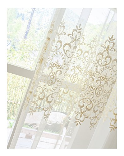 Aside Bside Sheer Curtains Tiny Arrow Embroidered Pattern Relaxed Casual Style Rod Pocket Top for Windows (1 Panel, W 52 x L 104 inch, White 18) -1281643521048518C1PGC by Aside Bside