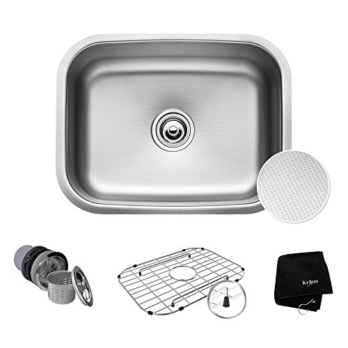 (KRAUS Outlast MicroShield Scratch-Resist Stainless Steel Undermount Single Bowl Sink, 23