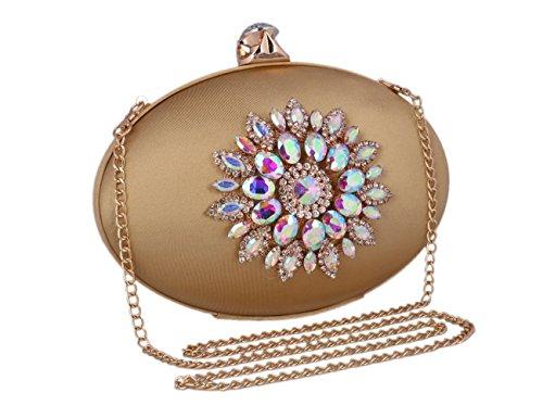 Womens Adoptfade Flower Gold Rhinestone Oval Evening Clutch Bag Retro 7wvdAvq