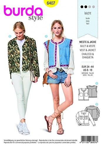 Burda Ladies Easy Sewing Pattern 6407 Open Waistcoat & Jacket