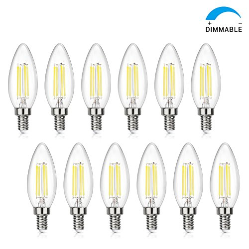 (SHINE HAI Candelabra LED Filament Bulbs Dimmable 40W Equivalent, 5000K Chandelier B11 LED Bulb E12 Base Decorative Candle Light Bulb(12-Pack))