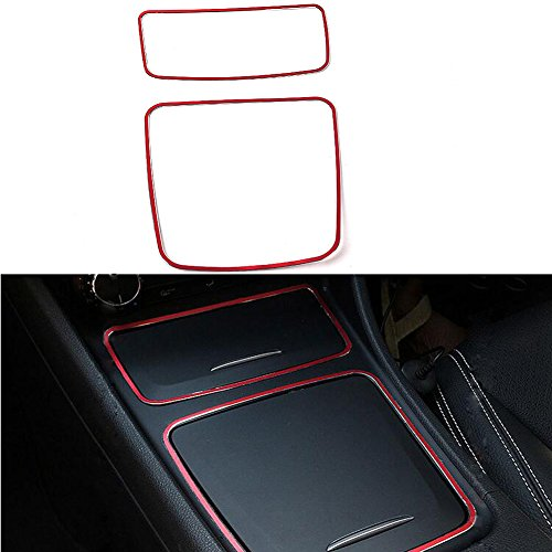 Angelguoguo Car Center Console Storage Box Cigarette Ashtray Holder Cover Trim Frame For Mercedes Benz A CLA GLA Class W176 C117 W117 X156 (Red)