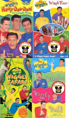 the wiggles set 4 vhs: The Wiggles - Wiggle Time, The Wiggles - Hoop-Dee-Doo! It's a Wiggly Party, The Wiggles - Wiggly Safari, The Wiggles - Wiggly, Wiggly World! (The Wiggles Its A Wiggly Wiggly World)