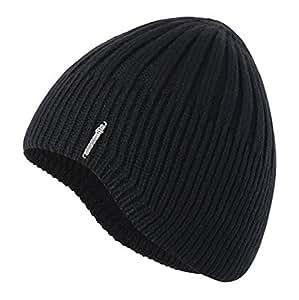 Home Prefer Knit Beanie Winter Warm Skull Hat Ears Covers One Size Black