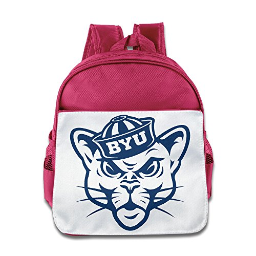 Price comparison product image BestGifts Custom Cool Brigham Young University Football Kids Children Schoolbag For 1-6 Years Old Pink