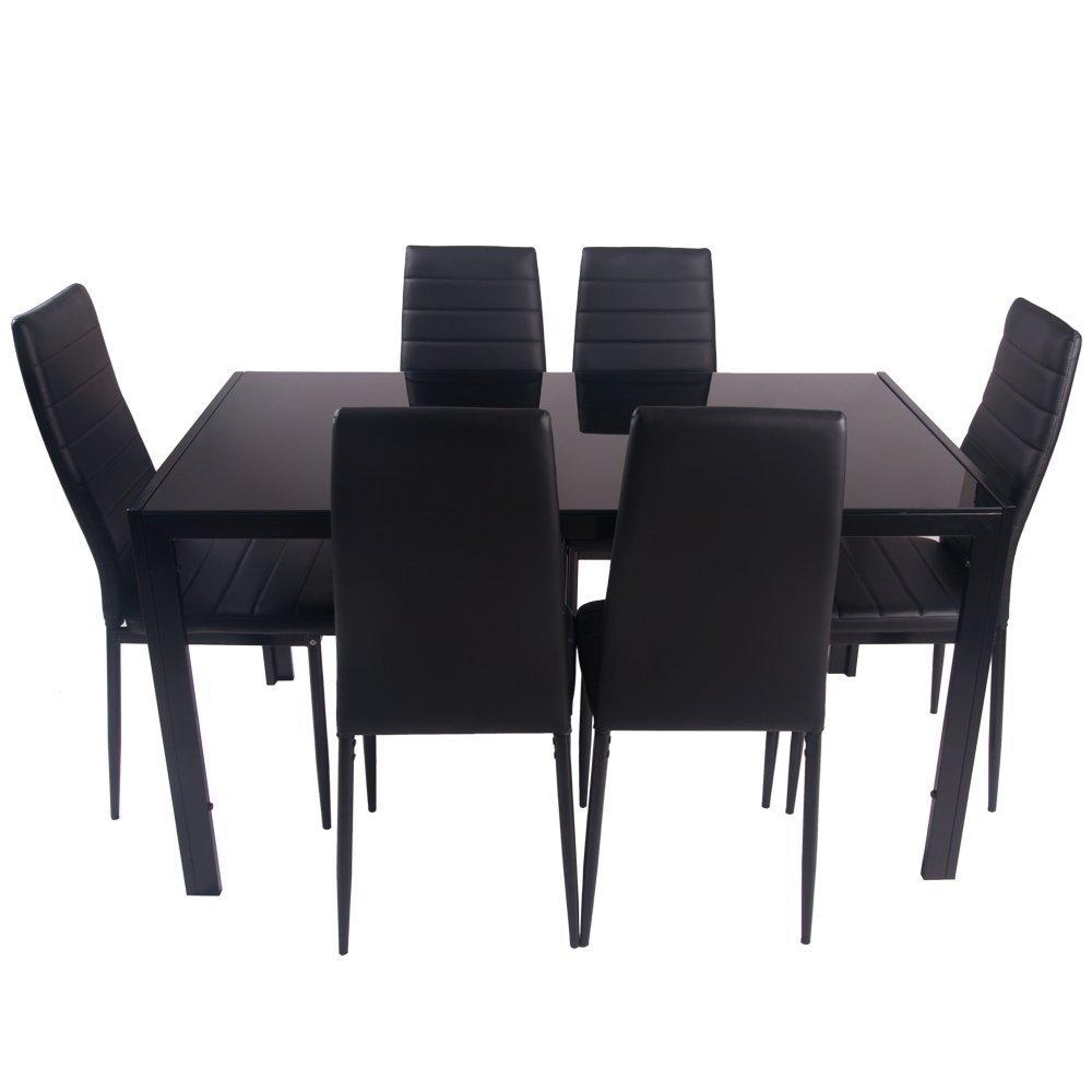 Juego de mesa de comedor con 6 sillas de piel sintética color negro.: Amazon.es: Hogar