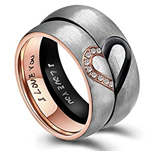 ANAZOZ His & Hers Real Love Heart Promise Ring Stainless Steel Couples Wedding Engagement Bands Top Ring, 6mm