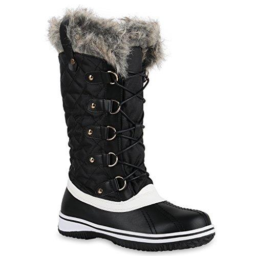 Stiefelparadies Warm Gefütterte Damen Stiefeletten Winterboots Stiefel Schuhe Flandell Schwarz Weiss
