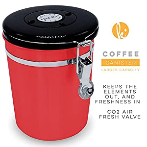 Coffee Canister (Large) Airtight Seal Set with Scoop - Stainless Steel Kitchen Storage Container with AirFresh Valve Technology