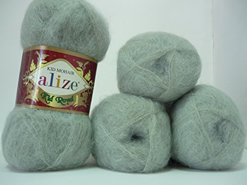 Alize Kid Royal Mohair Yarn Wool Thread Crochet Knitting Lace 4 skeins 200 gr 2184 yds - Kid Mohair Wool