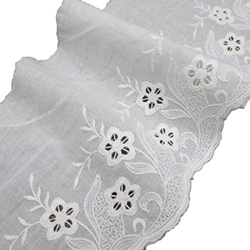 5 Inches Wide Scalloped Eyelet Floral Pattern Cotton Lace Trims Pack of 4 Yards ()
