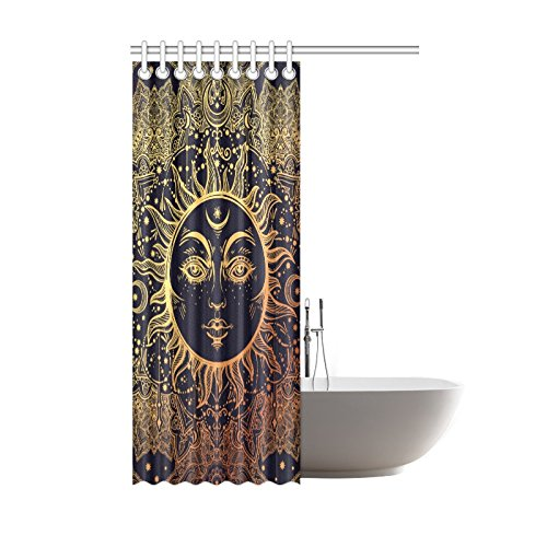 Interestprint Shower Curtain Floral Paisley Sun Moon Star Polyester