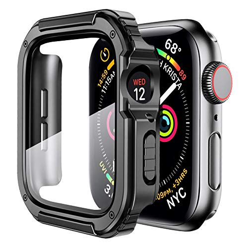 Mesime Rugged Case Cover Compatible with Apple Watch 44mm 42mm 40mm 38mm with Tempered Glass Screen for iWatch Series 6 5 4 3 2 1 SE Protective Cover Accessories Hard Case