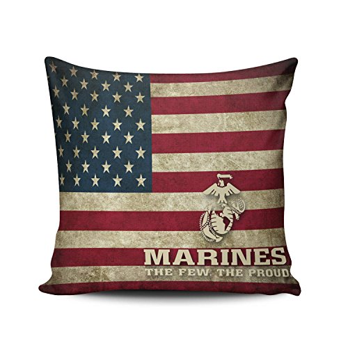 KEIBIKE Personalized Flag of the United States Usmc Marine Corps Pattern Square Decorative Pillowcases Print Zippered Throw Pillow Covers Cases 16x16 Inches One - Marine States United Personalized