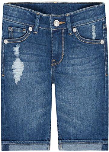 Levi's Big Girls' Sweetie Denim Bermuda Shorts, Blue Winds With Destruction, - Waist Adjustable Jean Shorts