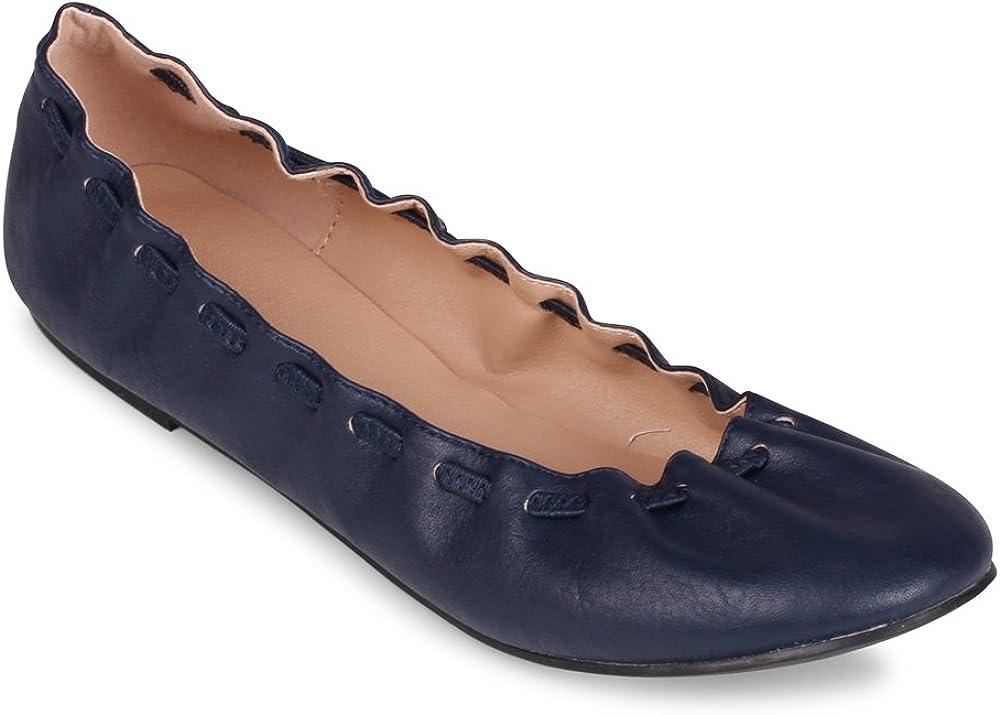 Wanted Genesis Scrunch Lacing Fashion Flat Navy, 8.5
