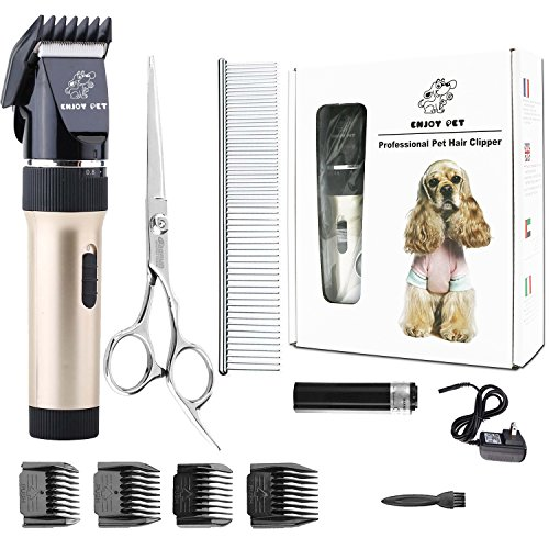 ENJOY PET Dog Clippers Cat Shaver, Professional Hair Grooming Clippers Detachable Blades Cordless Rechargeable, Pet Clipper Kit with Scissor, Combs, Guards for Dog Cat, Quiet Animal Clippers (Gold) (Professional Grooming Pet)