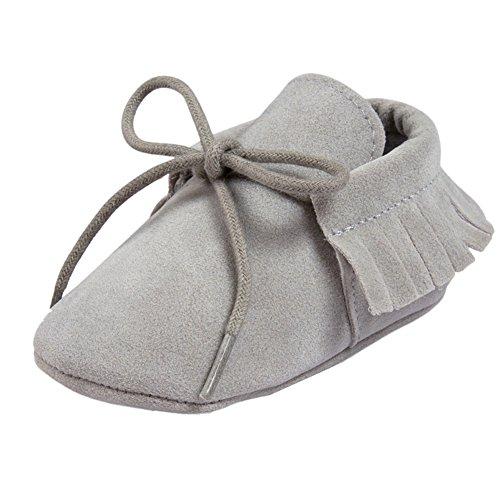 etrack-online Infant Boys Fringe de piel sintética ante cordones mocasín zapatos de cuna, Rosa, 12-18 meses Winter Light Grey