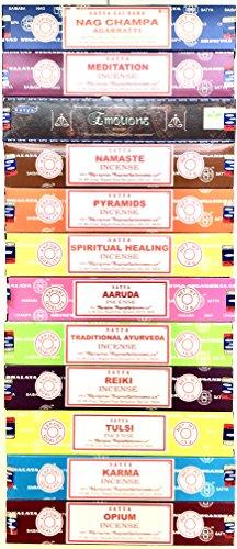 (Satya Set of 12 Nag Champa Meditation Emotions Namaste Pyramids Spiritual Healing Aaruda Traditional Ayurveda Reiki Tulsi Karma Opium by)