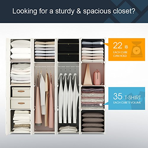 KOUSI Portable Clothes Closet Wardrobe Bedroom Armoire Storage Organizer with Doors, Capacious & Sturdy. 10 Cubes+2 Hanging Section, White