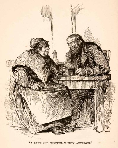 [1882 Wood Engraving Auvergne Peasant Tavern Paris Rustic Couple Costume Beer - Original In-Text Wood] (Political Couple Costumes)