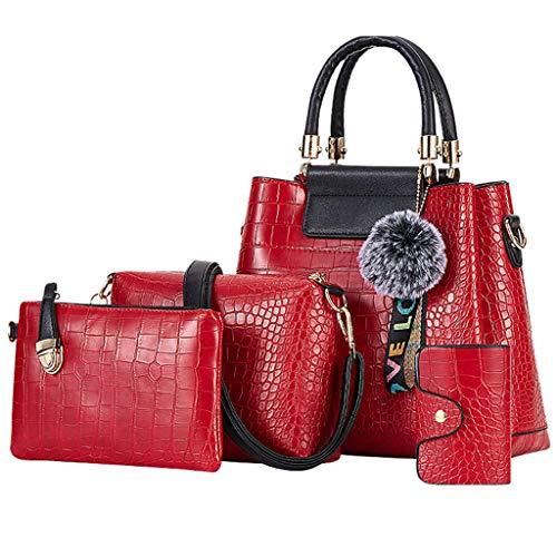 (Clearance! Hot Sale!DDKK bags 6Pcs Retro Handle Shoulder Tote Bags Wallets Tote Satchel Hobo Purse Set for Women Satchel Purses and Handbags Crossbody Bag Key Holder)