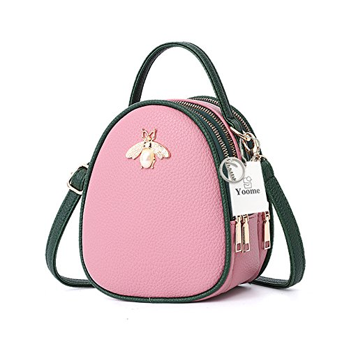 Yoome Faux Leather Small Crossbody Shoulder Bag Multi-Pockets Bee Series Cell Phone Purse Mini Satchel Handbag Wallet for Women