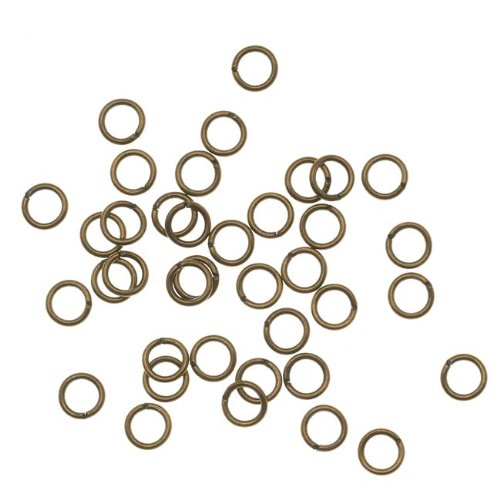 Beadaholique JR/025X4AB 100-Piece Open Jump Rings, 4mm, 22-Gauge, Antiqued Brass
