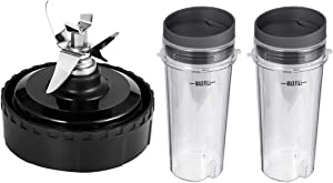 TOOLACC Replacement Parts for Nutri Ninja, Blender Blade Assembly and 2 Pack Single Serve 16-Ounce Cup Set for BL770 BL780 BL660 Professional Blender