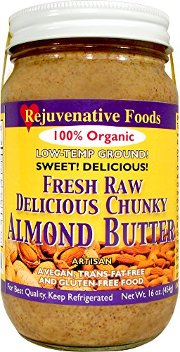 Fresh-Pure-Raw Chunky Organic Almond Butter Rejuvenative Foods Low-Temp-Ground Artisan-Ayurvedic-Vegan In-Glass Vitamin-Protein-Antioxidant-Vitamin-Mineral-Nutrition USDA-Certified-Organic-16 oz