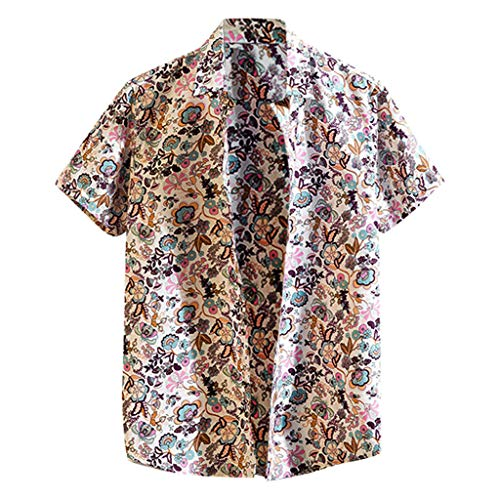 KLGDA Men's Casual Button Down Shirt Short Sleeve Holiday Beach Hawaiian Shirts Tops Pink