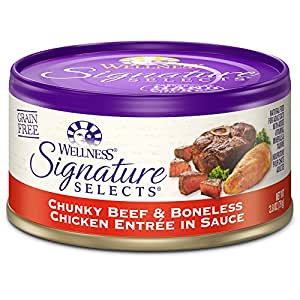 Wellness Signature Selects Grain Free Chunky Beef & Chicken Natural Wet Canned Cat Food, 2.8-Ounce Can (Pack of 24)
