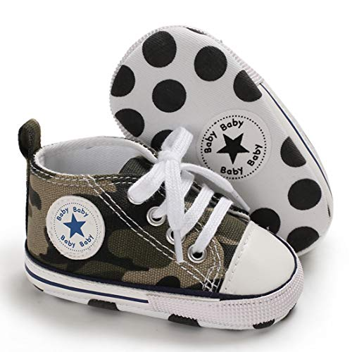 Infant Baby Boys Girls Star High Top Sneaker Soft Sole First Walkers Canvas Polka Dots Shoes Non Slip Bottom for 3-18 Months (3-6 Months Infant, B03-army Green)