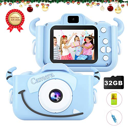 MITMOR Kids Camera for Boys Girls 32GB SD Card Dual Lens 2.0 Inch IPS Color Screen, 20.0MP HD Child Digital Cameras Toy Video Mini Camcorder Shockproof Case for 2-14 Years Kids Birthday