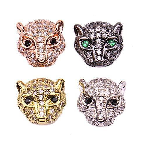 JETEHO 4 Pcs Leopard Charm Micro Pave Cubic Zirconia Beads Rhinestone Loose Beads Lead Free & Nickel Free Bracelets Necklace Jewelry Making