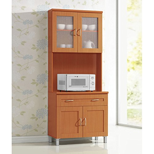 Excellent Tall Kitchen Cabinet, Gives You Plenty of Storage Combined with Style Thanks to its Unique Design, Features Two Transparent and One Solid Cabinet Door, Cherry + Expert Guide by eCom Rocket (Image #1)