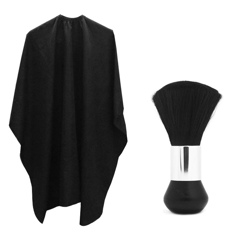 Professional Hair Salon Nylon Cape with Metal Adjustable Closure & Neck Duster, SourceTon Light Weight Extra Long  Cape (60 inch X 47 inch  ) and Neck Duster Brush, Perfect for Barbershop and Salon