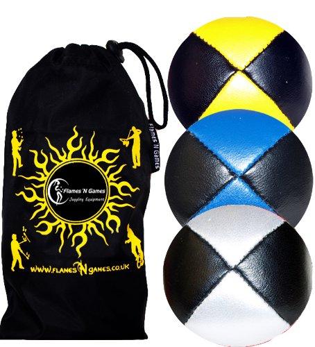 Jonglierbälle 3er Set - Profi Beanbag Bälle aus Glattleder (Leather)+Tasche. Set Ideal Für Anfänger Wie Auch Für Profis. (Schwarz mit Gelb/Rot/Silber) D3ih3