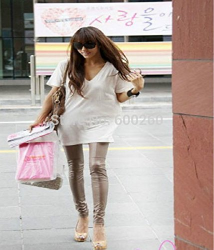 Polainas de cuero de UltiFit (TM) Faux para Lady leggins pantalones de las mujeres de la nueva manera atractiva Caqui